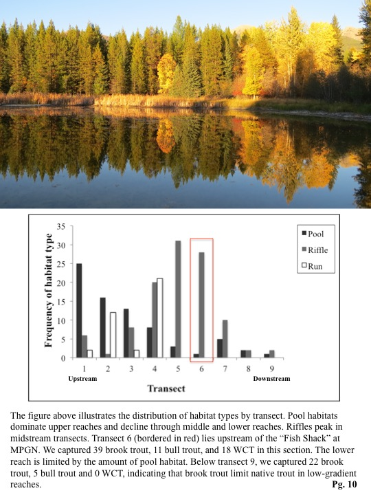Pool habitats dominate upper reaches and decline through middle and lower reaches. Riffles peak in midstream transects