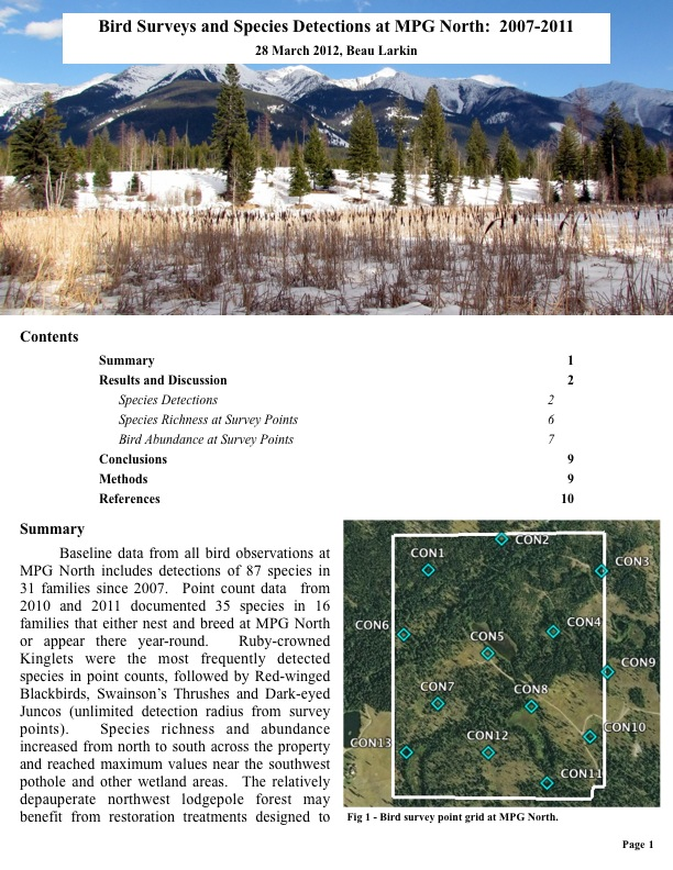 Bird Surveys and Species Detections at MPG North: 2007-2011 28 March 2012, Beau Larkin