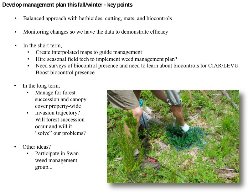Develop management plan this fall/winter - key points • Balanced approach with herbicides, cutting, mats, and biocontrols.