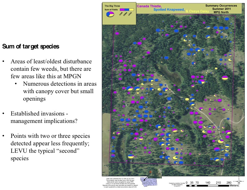 Sum of target species • Areas of least/oldest disturbance contain few weeds, but there are few areas like this at MPGN