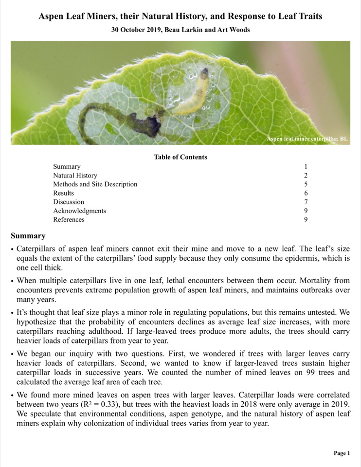 Caterpillars of aspen leaf miners cannot exit their mine and move to a new leaf. The leaf's size equals the extent of the caterpillars' food supply because they only consume the epidermis, which is one cell thick.