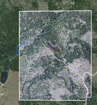 The blue line indicates the coyote track. The white border shows the property boundary.