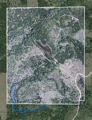 The blue line indicates the coyote track. Th e white border shows the property boundary.